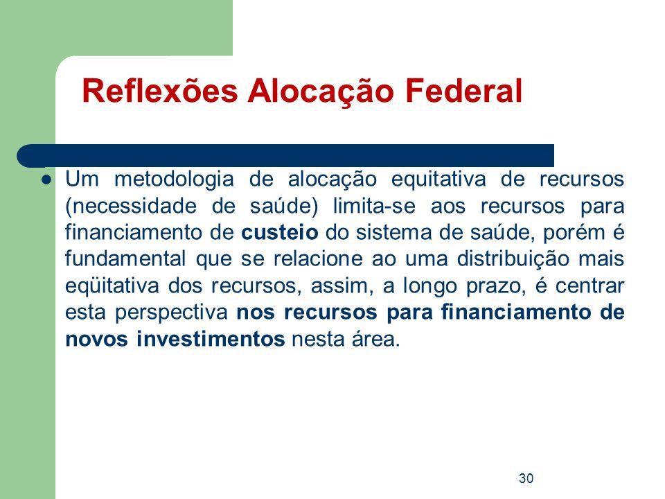 Reflexões Alocação Federal Um metodologia de alocação equitativa de recursos (necessidade de saúde) limita-se aos recursos para financiamento de custe