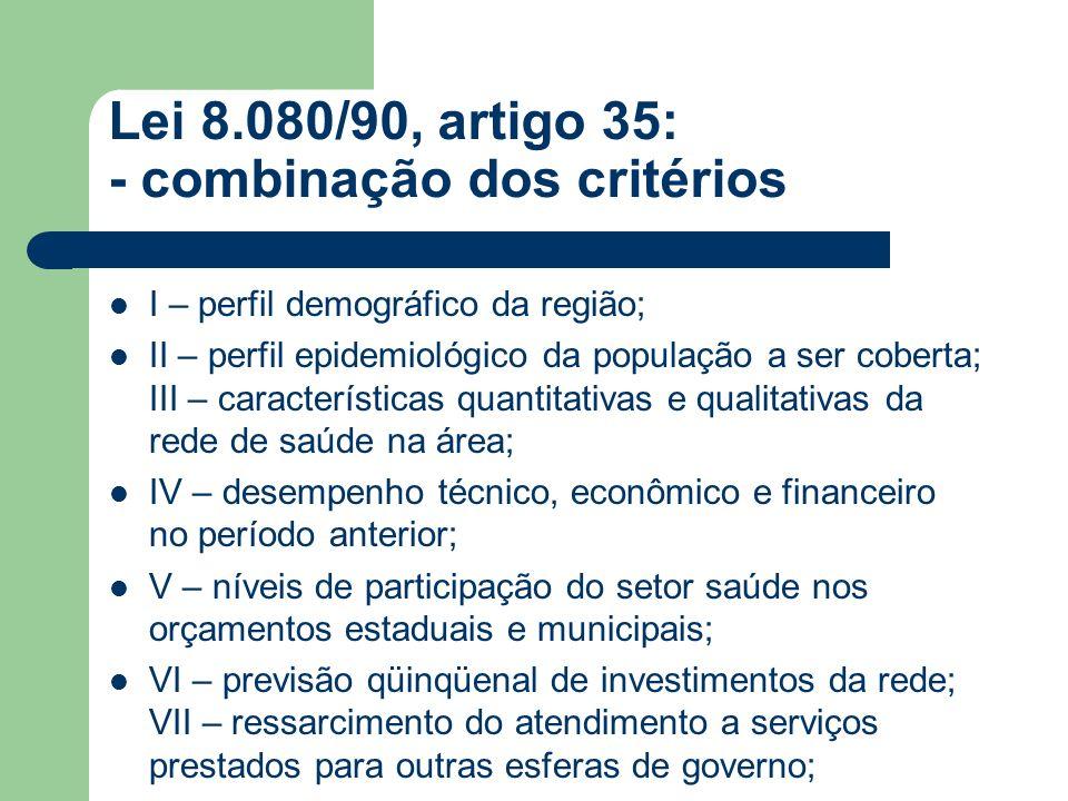 Lei 8.080/90, artigo 35: - combinação dos critérios Parágrafo 1º - metade dos recursos destinados a Estados e municípios será distribuída segundo o quociente de sua divisão pelo número de habitantes, independentes de qualquer procedimento prévio.