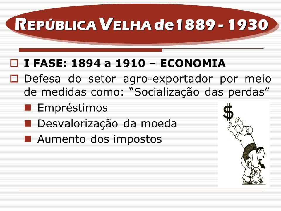 I FASE: 1894 a 1910 – ECONOMIA Defesa do setor agro-exportador por meio de medidas como: Socialização das perdas Empréstimos Desvalorização da moeda A