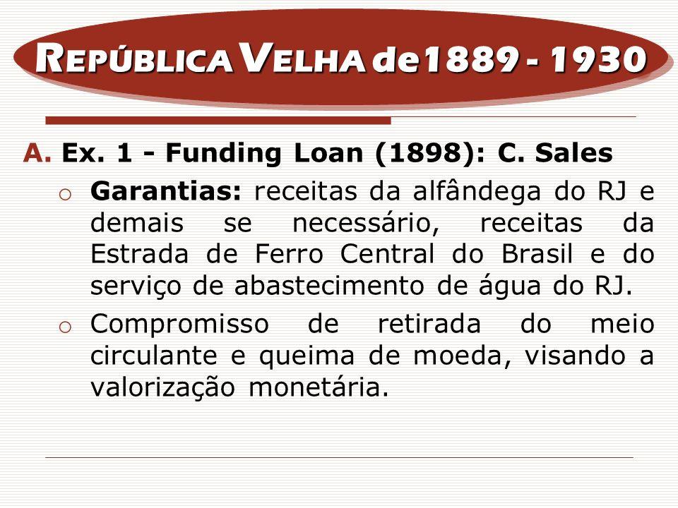 A.Ex. 1 - Funding Loan (1898): C. Sales o Garantias: receitas da alfândega do RJ e demais se necessário, receitas da Estrada de Ferro Central do Brasi