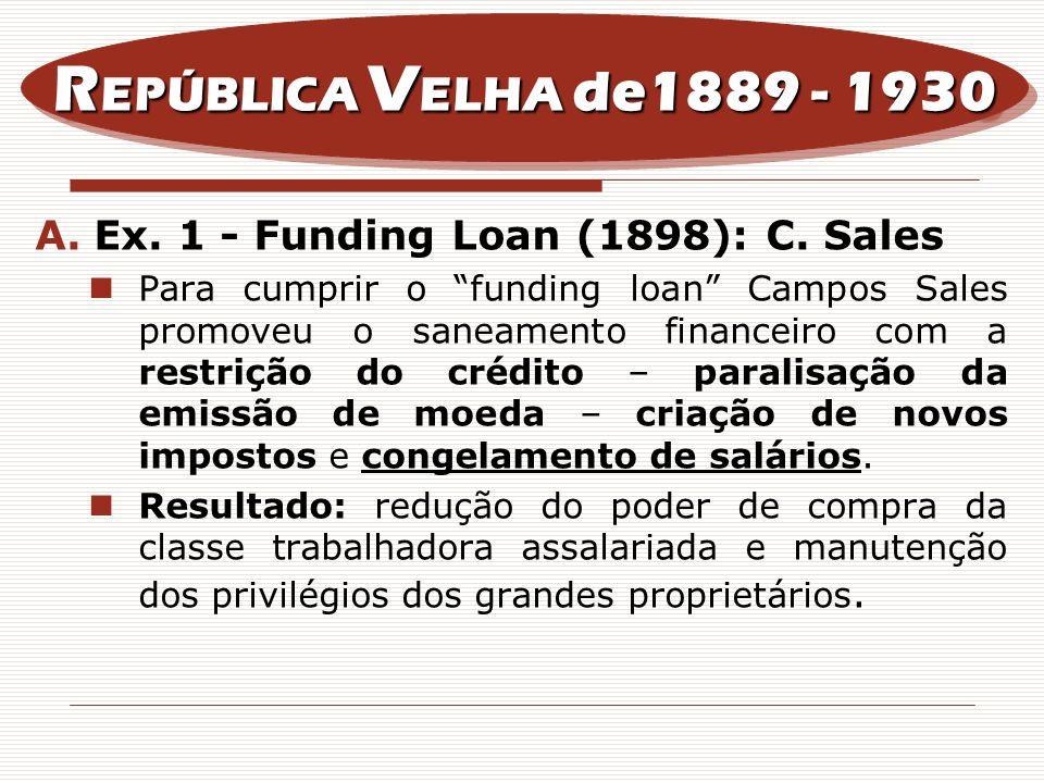 A.Ex. 1 - Funding Loan (1898): C. Sales Para cumprir o funding loan Campos Sales promoveu o saneamento financeiro com a restrição do crédito – paralis