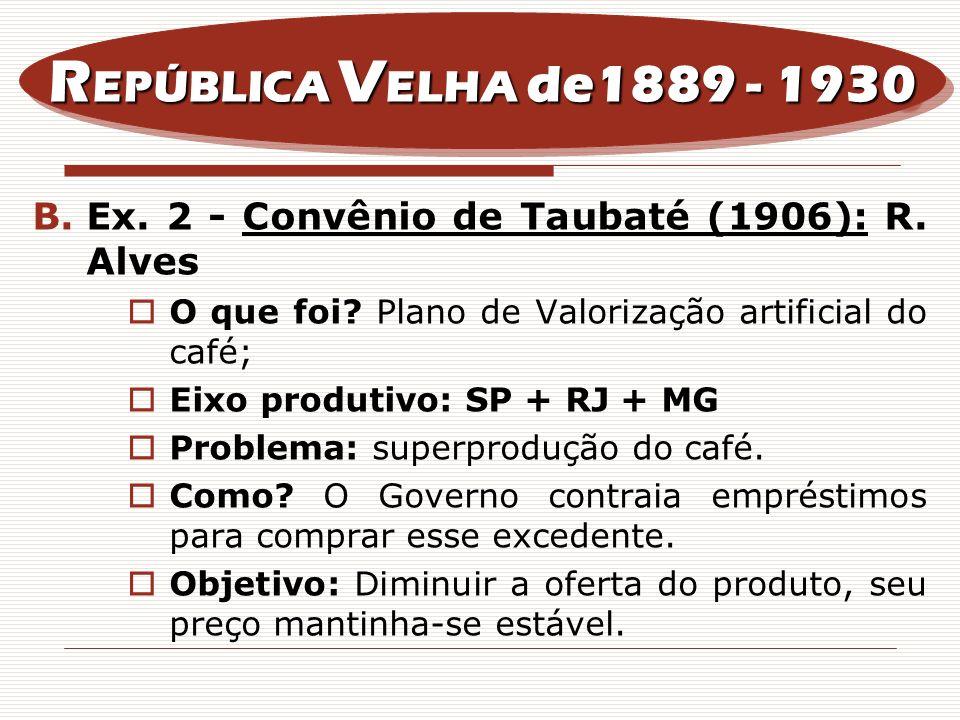 B.Ex. 2 - Convênio de Taubaté (1906): R. Alves O que foi? Plano de Valorização artificial do café; Eixo produtivo: SP + RJ + MG Problema: superproduçã
