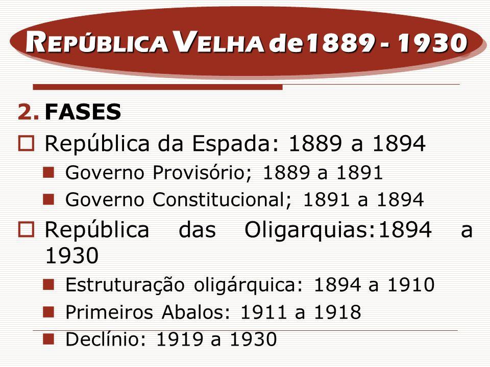 2.FASES República da Espada: 1889 a 1894 Governo Provisório; 1889 a 1891 Governo Constitucional; 1891 a 1894 República das Oligarquias:1894 a 1930 Est