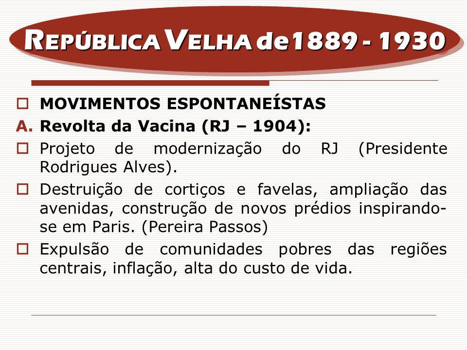 MOVIMENTOS ESPONTANEÍSTAS A.Revolta da Vacina (RJ – 1904): Projeto de modernização do RJ (Presidente Rodrigues Alves). Destruição de cortiços e favela