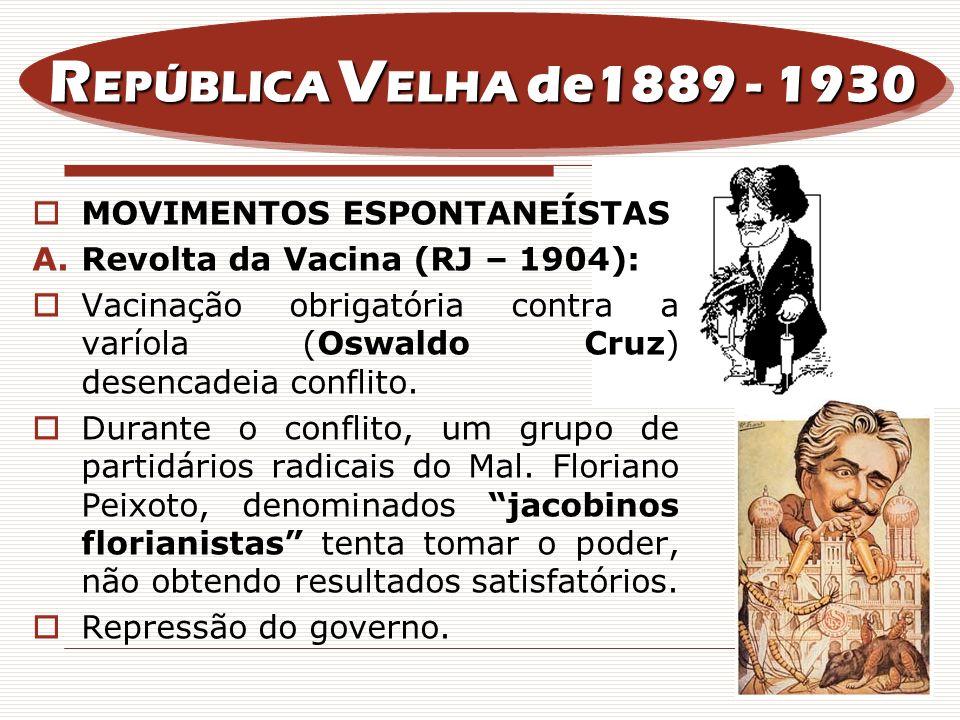 MOVIMENTOS ESPONTANEÍSTAS A.Revolta da Vacina (RJ – 1904): Vacinação obrigatória contra a varíola (Oswaldo Cruz) desencadeia conflito. Durante o confl