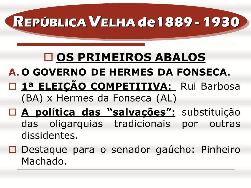 OS PRIMEIROS ABALOS A.O GOVERNO DE HERMES DA FONSECA. 1ª ELEIÇÃO COMPETITIVA: Rui Barbosa (BA) x Hermes da Fonseca (AL) A política das salvações: subs