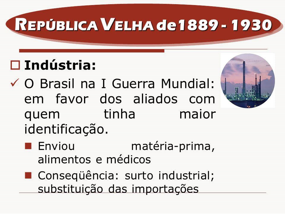 Indústria: O Brasil na I Guerra Mundial: em favor dos aliados com quem tinha maior identificação. Enviou matéria-prima, alimentos e médicos Conseqüênc