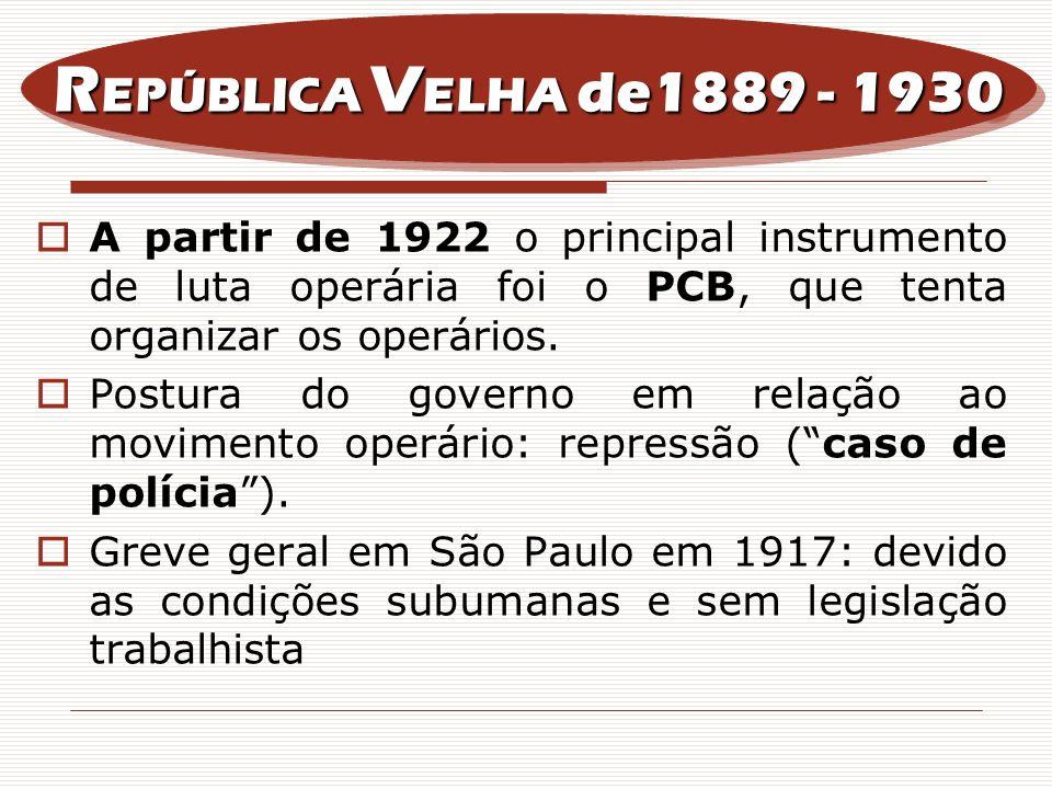 A partir de 1922 o principal instrumento de luta operária foi o PCB, que tenta organizar os operários. Postura do governo em relação ao movimento oper
