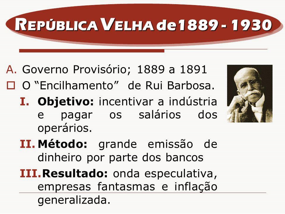 A.Governo Provisório; 1889 a 1891 O Encilhamento de Rui Barbosa. I.Objetivo: incentivar a indústria e pagar os salários dos operários. II.Método: gran