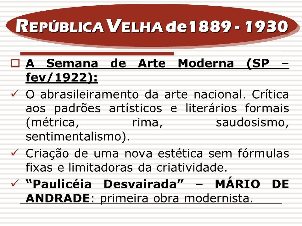 A Semana de Arte Moderna (SP – fev/1922): O abrasileiramento da arte nacional. Crítica aos padrões artísticos e literários formais (métrica, rima, sau