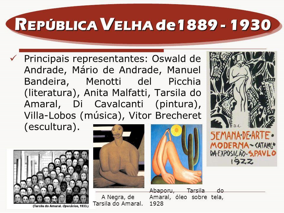 Principais representantes: Oswald de Andrade, Mário de Andrade, Manuel Bandeira, Menotti del Picchia (literatura), Anita Malfatti, Tarsila do Amaral,