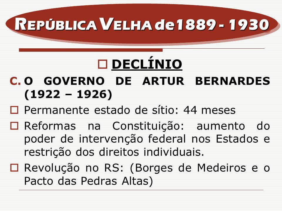 DECLÍNIO C.O GOVERNO DE ARTUR BERNARDES (1922 – 1926) Permanente estado de sítio: 44 meses Reformas na Constituição: aumento do poder de intervenção f
