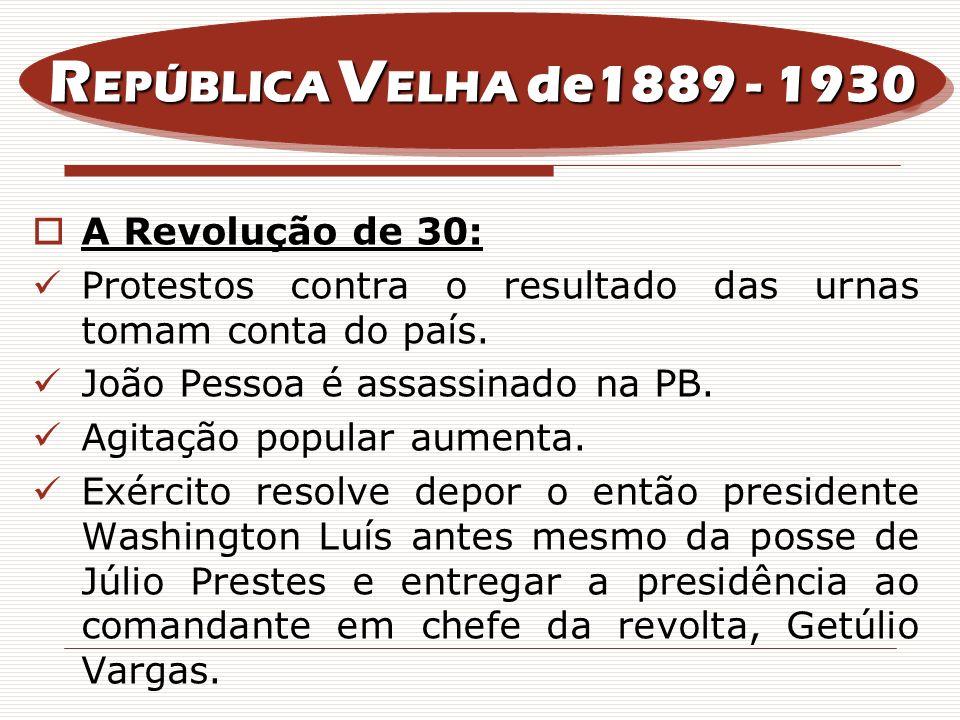 A Revolução de 30: Protestos contra o resultado das urnas tomam conta do país. João Pessoa é assassinado na PB. Agitação popular aumenta. Exército res
