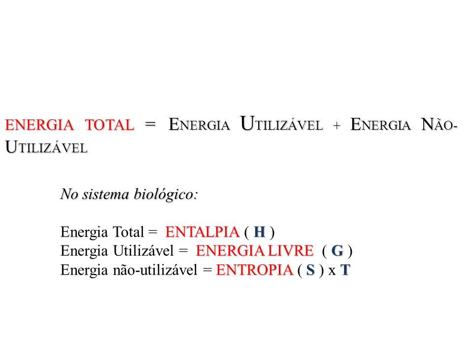 ENERGIA TOTAL = E NERGIA U TILIZÁVEL + E NERGIA N ÃO- U TILIZÁVEL No sistema biológico: ENTALPIA H Energia Total = ENTALPIA ( H ) ENERGIA LIVRE G Ener