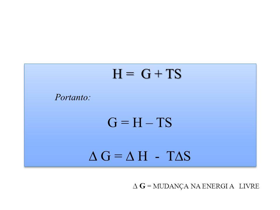 H = G + TS H = G + TS Portanto: G = H – TS G = H - TS H = G + TS H = G + TS Portanto: G = H – TS G = H - TS G = MUDANÇA NA ENERGI A LIVRE
