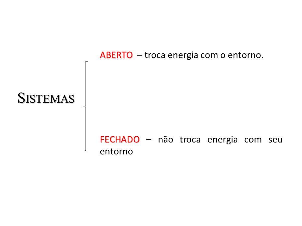 S ISTEMAS ABERTO ABERTO – troca energia com o entorno. FECHADO FECHADO – não troca energia com seu entorno