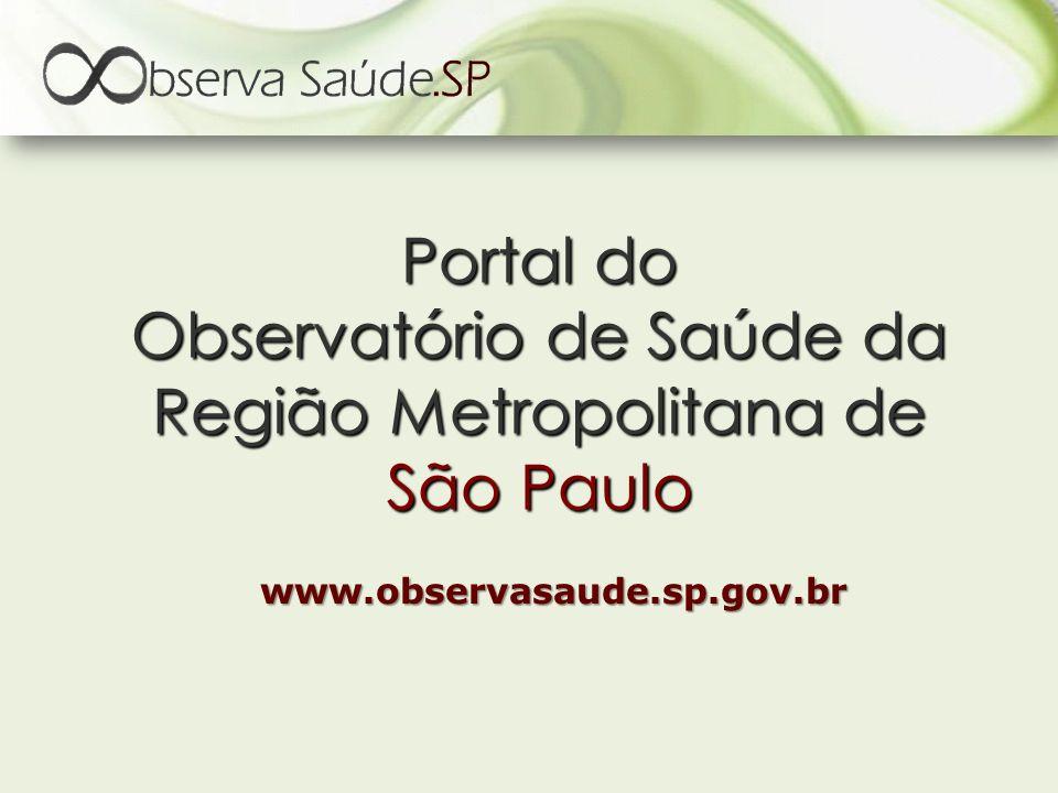 Portal do Observatório de Saúde da Região Metropolitana de São Paulo www.observasaude.sp.gov.br