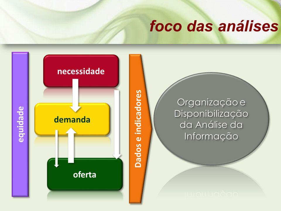 foco das análises Dados e indicadores equidade