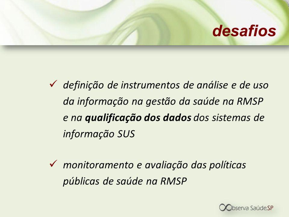 definição de instrumentos de análise e de uso da informação na gestão da saúde na RMSP e na qualificação dos dados dos sistemas de informação SUS moni