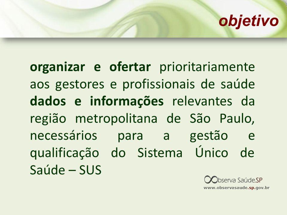 organizar e ofertar prioritariamente aos gestores e profissionais de saúde dados e informações relevantes da região metropolitana de São Paulo, necess
