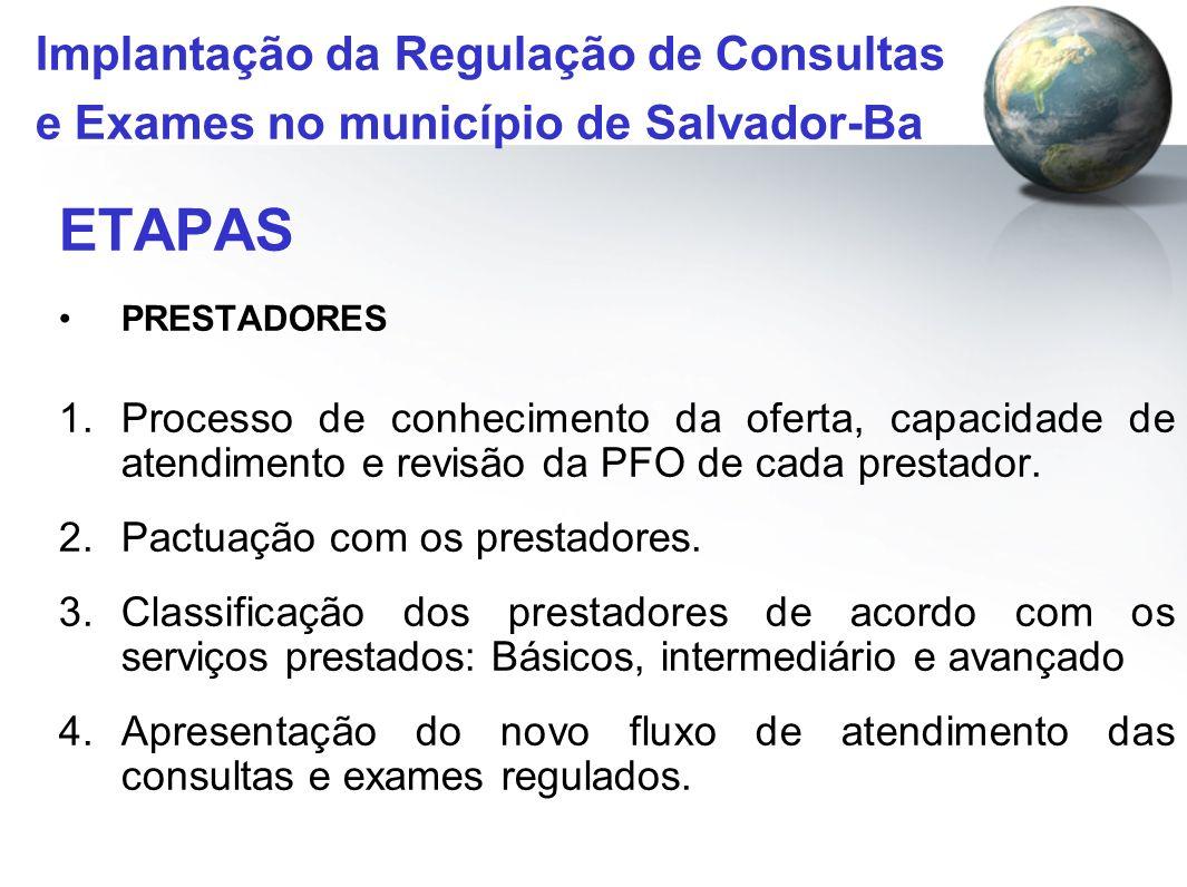 ETAPAS PRESTADORES 1.Processo de conhecimento da oferta, capacidade de atendimento e revisão da PFO de cada prestador. 2.Pactuação com os prestadores.