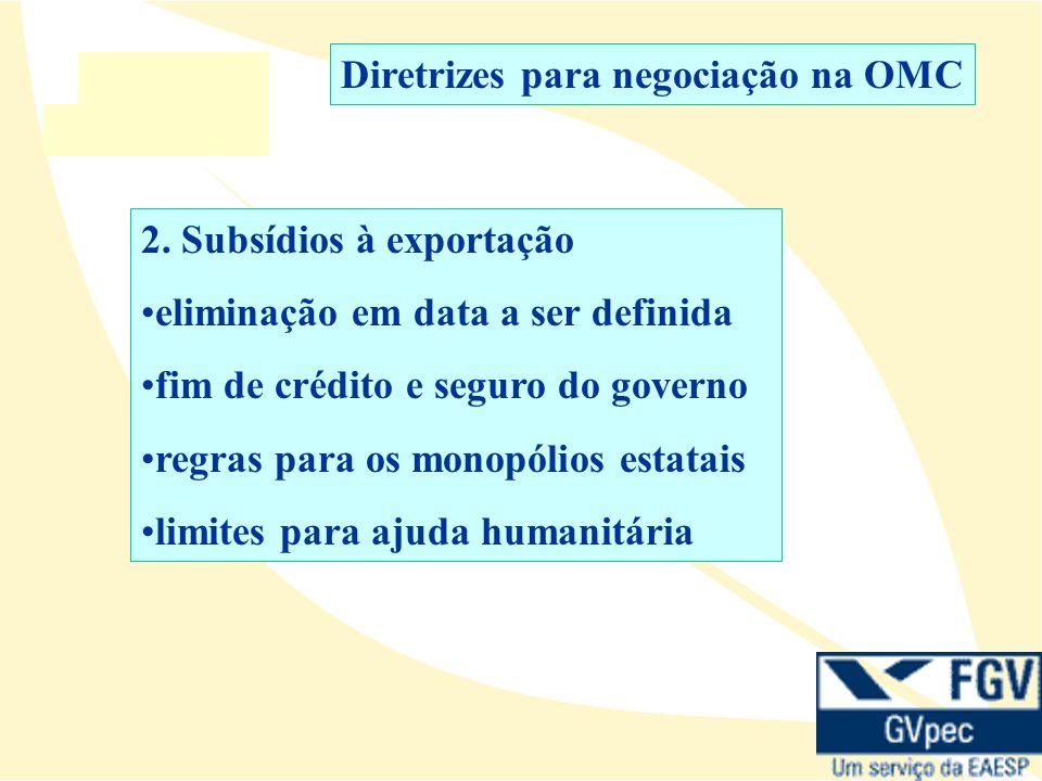 2. Subsídios à exportação eliminação em data a ser definida fim de crédito e seguro do governo regras para os monopólios estatais limites para ajuda h