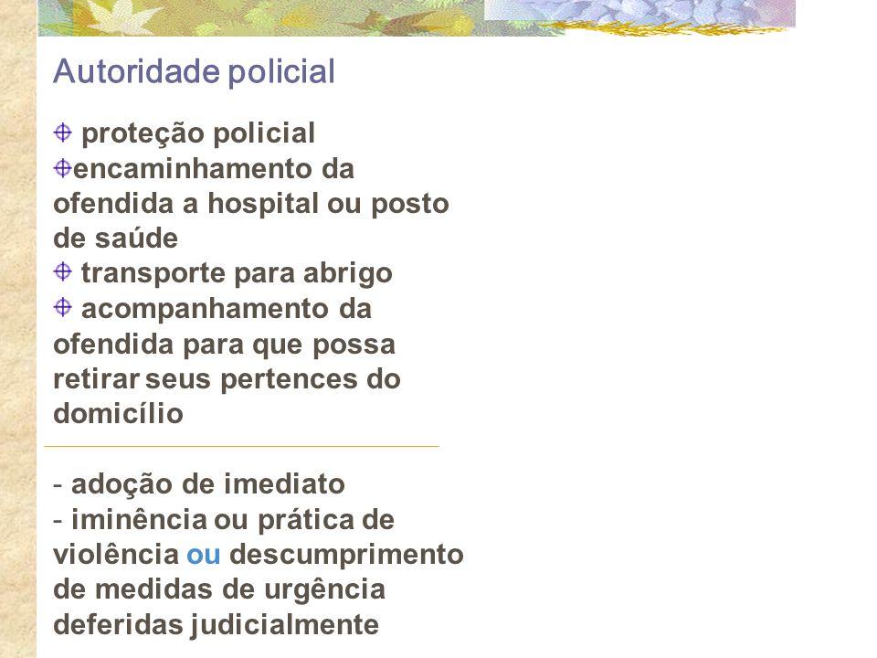 Autoridade policial proteção policial encaminhamento da ofendida a hospital ou posto de saúde transporte para abrigo acompanhamento da ofendida para q