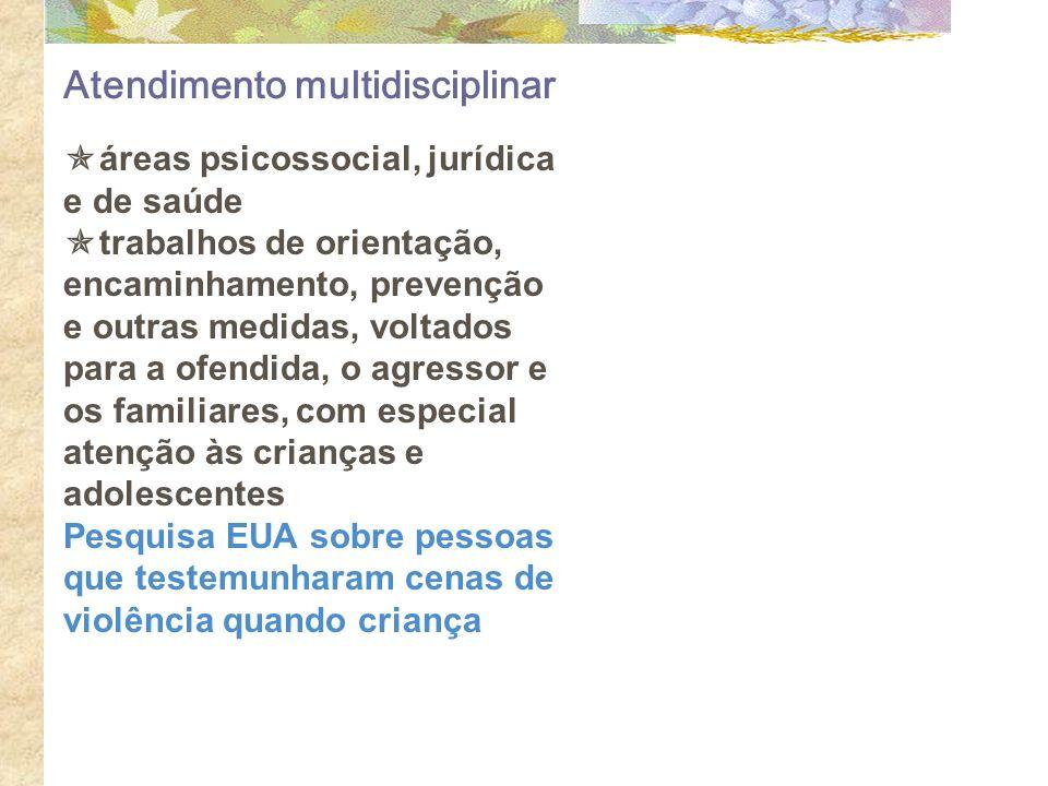 Atendimento multidisciplinar áreas psicossocial, jurídica e de saúde trabalhos de orientação, encaminhamento, prevenção e outras medidas, voltados par