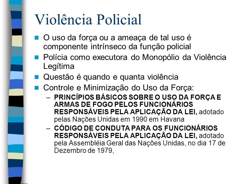 Violência Policial O uso da força ou a ameaça de tal uso é componente intrínseco da função policial Polícia como executora do Monopólio da Violência L