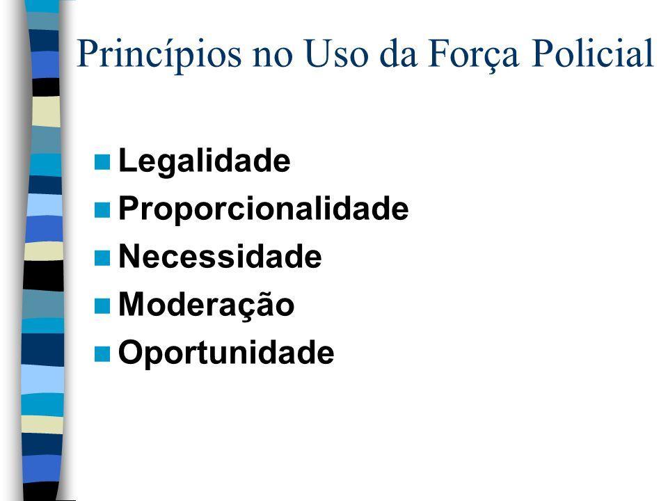 Princípios no Uso da Força Policial Legalidade Proporcionalidade Necessidade Moderação Oportunidade