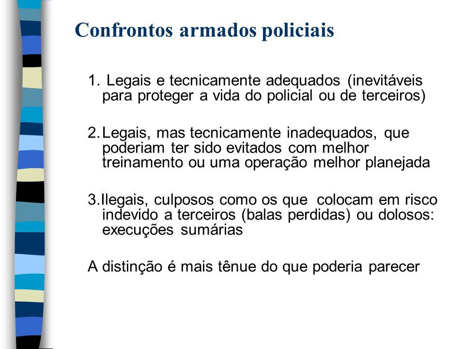 1. Legais e tecnicamente adequados (inevitáveis para proteger a vida do policial ou de terceiros) 2.Legais, mas tecnicamente inadequados, que poderiam