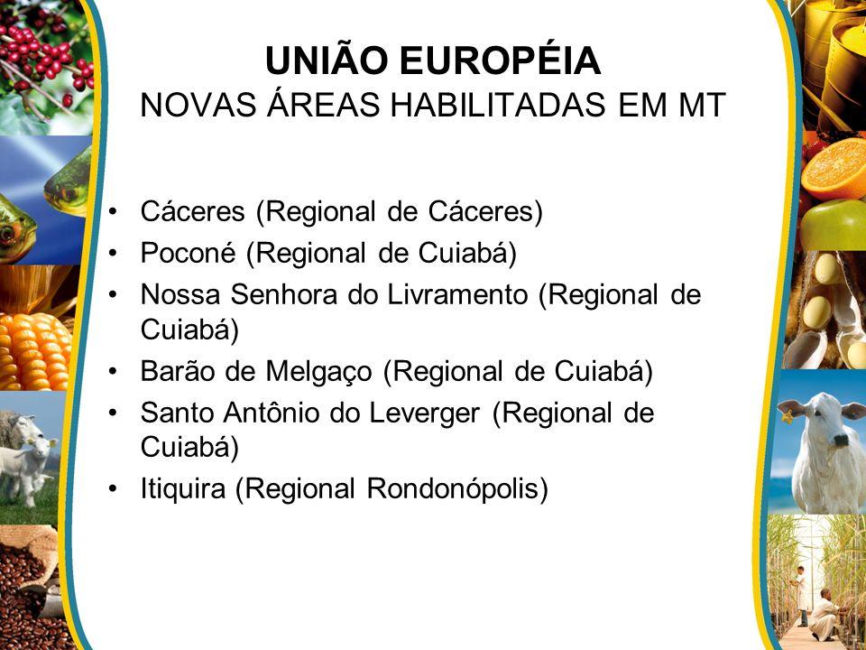 UNIÃO EUROPÉIA NOVAS ÁREAS HABILITADAS EM MT Cáceres (Regional de Cáceres) Poconé (Regional de Cuiabá) Nossa Senhora do Livramento (Regional de Cuiabá
