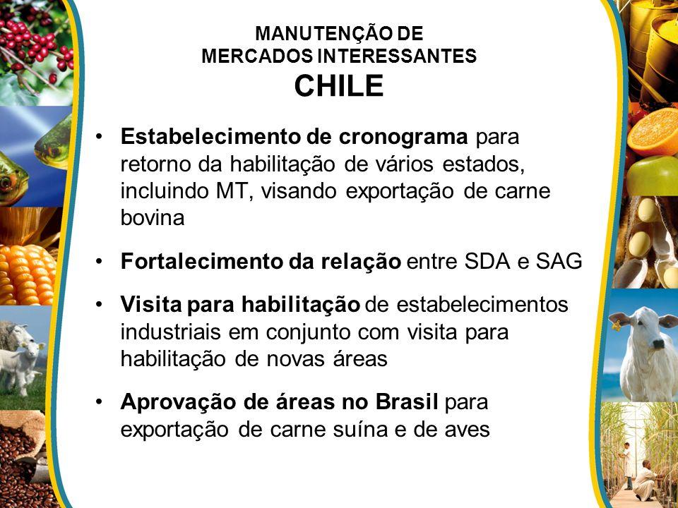 MANUTENÇÃO DE MERCADOS INTERESSANTES CHILE Estabelecimento de cronograma para retorno da habilitação de vários estados, incluindo MT, visando exportaç