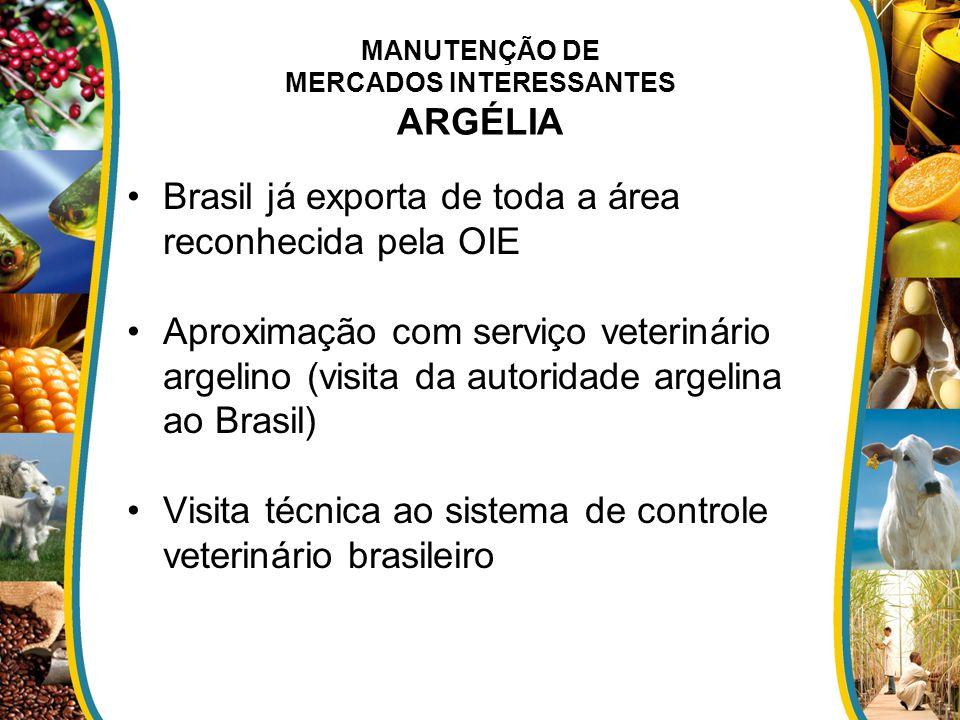 MANUTENÇÃO DE MERCADOS INTERESSANTES ARGÉLIA Brasil já exporta de toda a área reconhecida pela OIE Aproximação com serviço veterinário argelino (visit