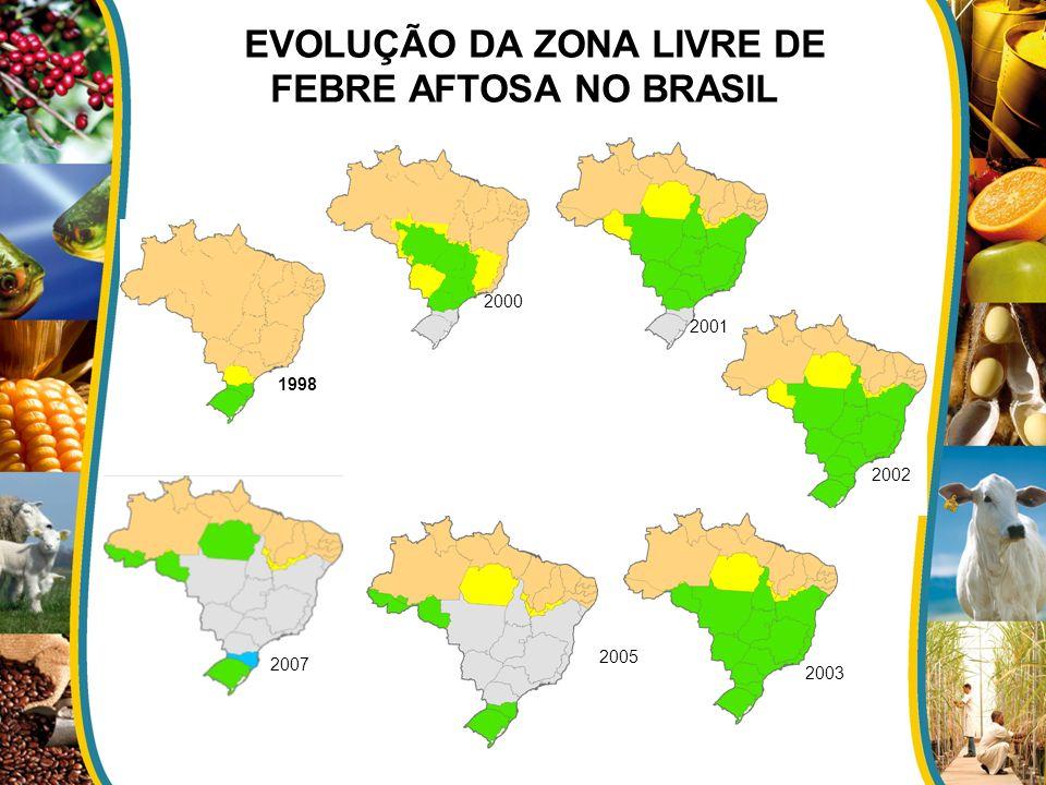 EVOLUÇÃO DA ZONA LIVRE DE FEBRE AFTOSA NO BRASIL 1998 2000 2001 2002 2003 2005 2007