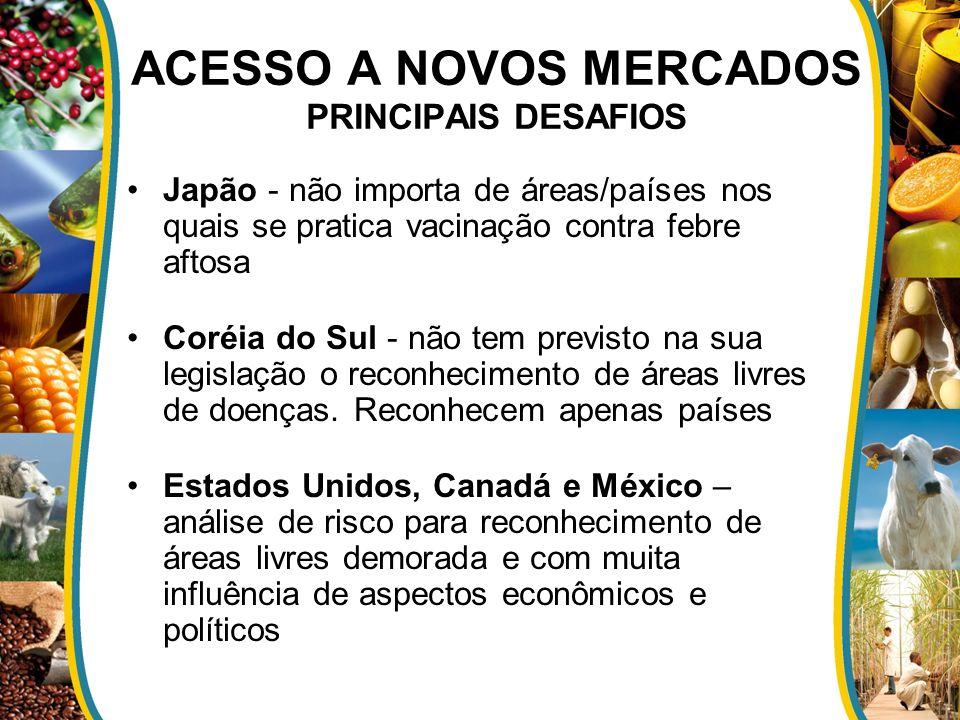 ACESSO A NOVOS MERCADOS PRINCIPAIS DESAFIOS Japão - não importa de áreas/países nos quais se pratica vacinação contra febre aftosa Coréia do Sul - não