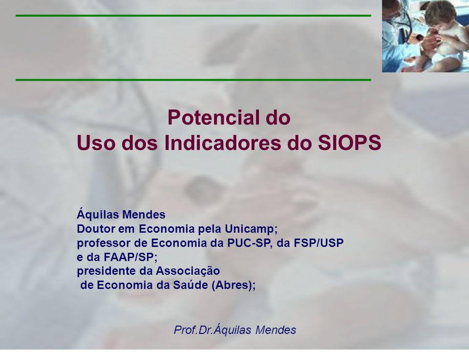 Prof.Dr.Áquilas Mendes POTENCIALIDADES 1 - Possibilidade de estudo e acompanhamento: Parte-se do reconhecimento da importância do SIOPS como instrumento de gestão, de suporte para a tomada de decisão, que incorpora metodologias de monitoramento e avaliação do SUS.