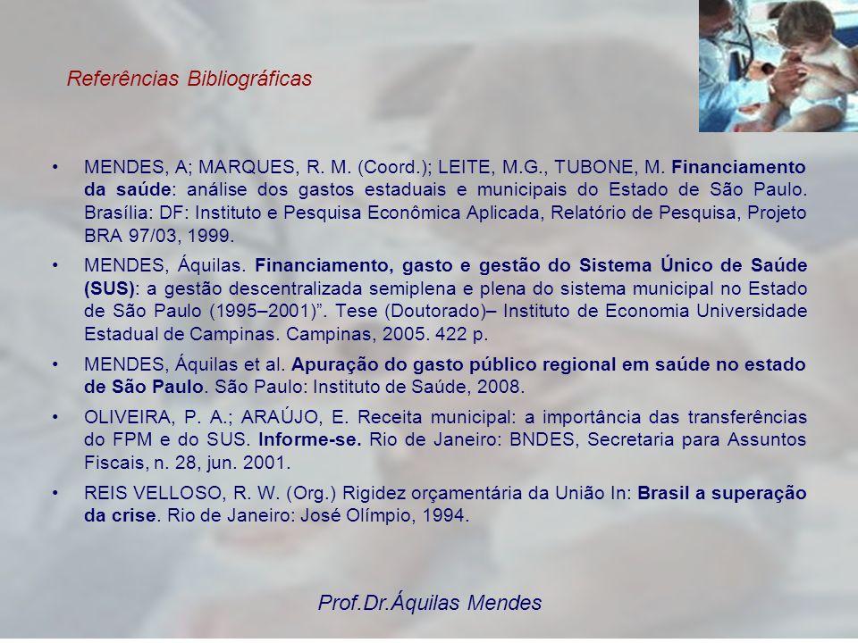 Referências Bibliográficas MENDES, A; MARQUES, R. M. (Coord.); LEITE, M.G., TUBONE, M. Financiamento da saúde: análise dos gastos estaduais e municipa