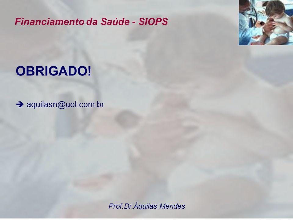 Prof.Dr.Áquilas Mendes Financiamento da Saúde - SIOPS OBRIGADO! aquilasn@uol.com.br
