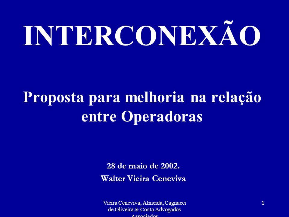 Vieira Ceneviva, Almeida, Cagnacci de Oliveira & Costa Advogados Associados 1 INTERCONEXÃO Proposta para melhoria na relação entre Operadoras 28 de maio de 2002.