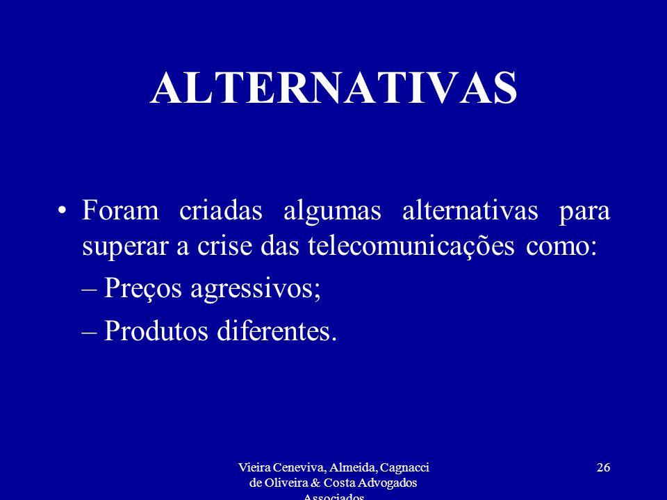 Vieira Ceneviva, Almeida, Cagnacci de Oliveira & Costa Advogados Associados 25 REGULAMENTAÇÃO Controle direto das tarifas praticadas ao usuário final