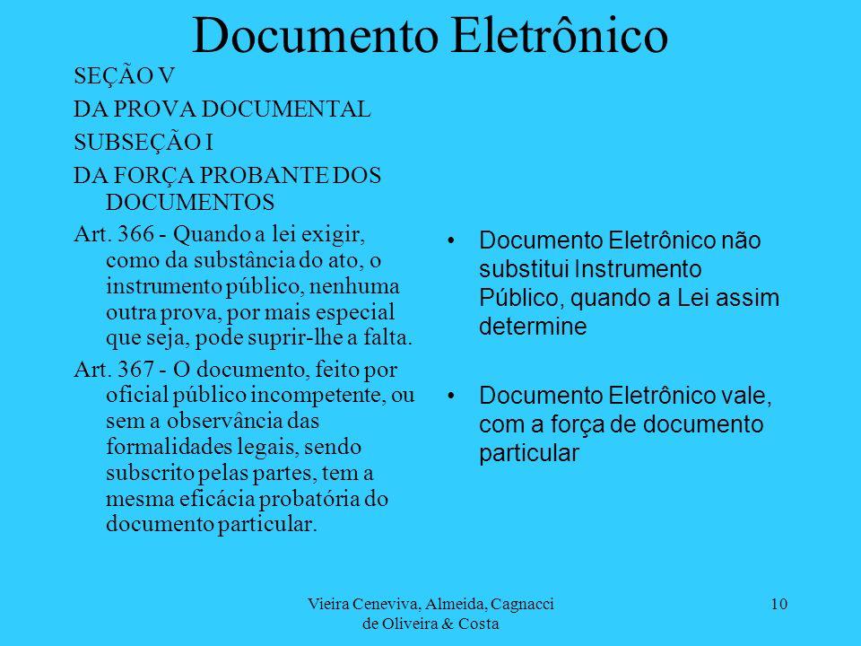 Vieira Ceneviva, Almeida, Cagnacci de Oliveira & Costa 10 Documento Eletrônico SEÇÃO V DA PROVA DOCUMENTAL SUBSEÇÃO I DA FORÇA PROBANTE DOS DOCUMENTOS Art.