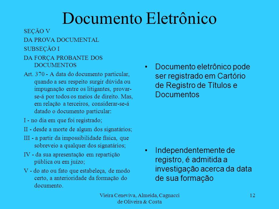 Vieira Ceneviva, Almeida, Cagnacci de Oliveira & Costa 12 Documento Eletrônico SEÇÃO V DA PROVA DOCUMENTAL SUBSEÇÃO I DA FORÇA PROBANTE DOS DOCUMENTOS Art.
