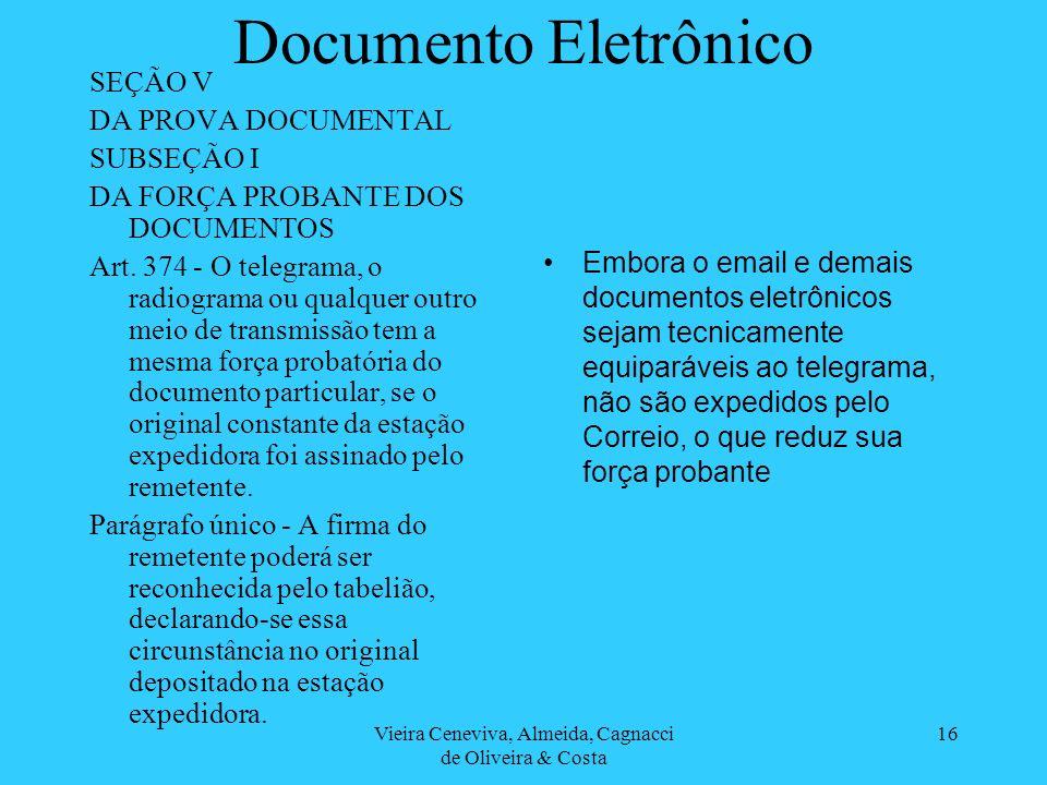 Vieira Ceneviva, Almeida, Cagnacci de Oliveira & Costa 16 Documento Eletrônico SEÇÃO V DA PROVA DOCUMENTAL SUBSEÇÃO I DA FORÇA PROBANTE DOS DOCUMENTOS Art.
