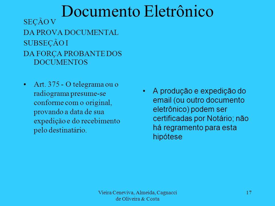 Vieira Ceneviva, Almeida, Cagnacci de Oliveira & Costa 17 Documento Eletrônico SEÇÃO V DA PROVA DOCUMENTAL SUBSEÇÃO I DA FORÇA PROBANTE DOS DOCUMENTOS Art.