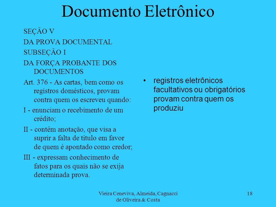 Vieira Ceneviva, Almeida, Cagnacci de Oliveira & Costa 18 Documento Eletrônico SEÇÃO V DA PROVA DOCUMENTAL SUBSEÇÃO I DA FORÇA PROBANTE DOS DOCUMENTOS Art.