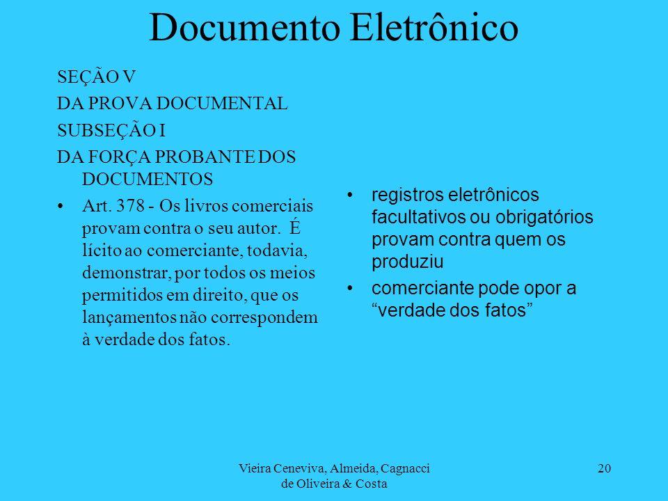 Vieira Ceneviva, Almeida, Cagnacci de Oliveira & Costa 20 Documento Eletrônico SEÇÃO V DA PROVA DOCUMENTAL SUBSEÇÃO I DA FORÇA PROBANTE DOS DOCUMENTOS Art.