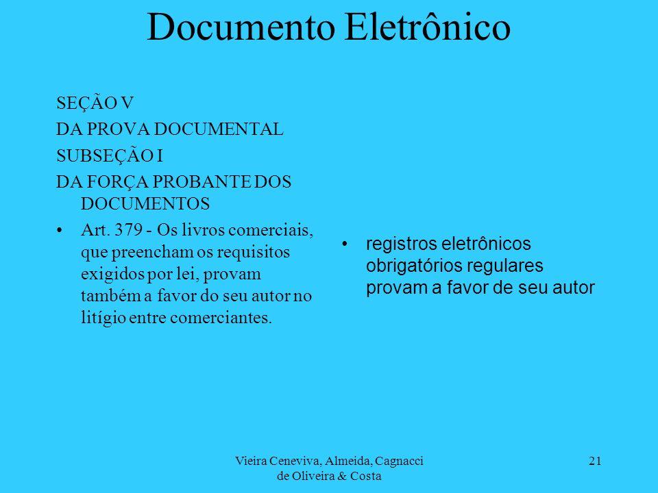 Vieira Ceneviva, Almeida, Cagnacci de Oliveira & Costa 21 Documento Eletrônico SEÇÃO V DA PROVA DOCUMENTAL SUBSEÇÃO I DA FORÇA PROBANTE DOS DOCUMENTOS Art.