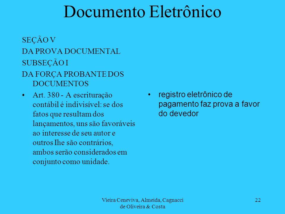 Vieira Ceneviva, Almeida, Cagnacci de Oliveira & Costa 22 Documento Eletrônico SEÇÃO V DA PROVA DOCUMENTAL SUBSEÇÃO I DA FORÇA PROBANTE DOS DOCUMENTOS Art.