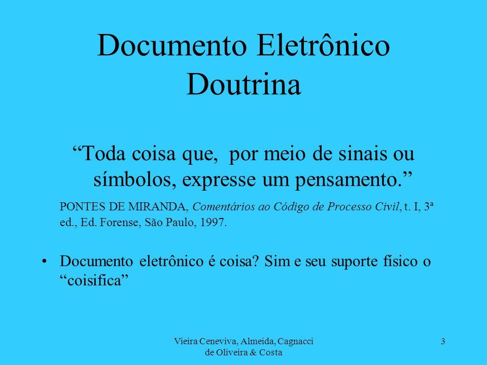 Vieira Ceneviva, Almeida, Cagnacci de Oliveira & Costa 3 Documento Eletrônico Doutrina Toda coisa que, por meio de sinais ou símbolos, expresse um pensamento.